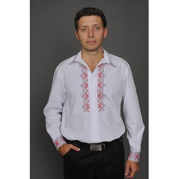 Men's button-up shirt with red embroidery