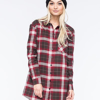 Lira Keep It Real Womens Flannel Tunic Maroon  In Sizes