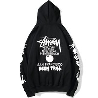 STUSSY Tide brand couple classic print hooded sweater Black