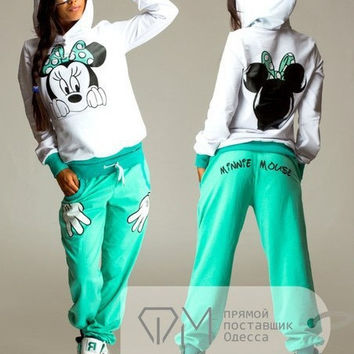 2015 Hot Selling Casual sportswear Cute Ear Minnie Mouse Printed Sport Hooded long-sleeved Suit