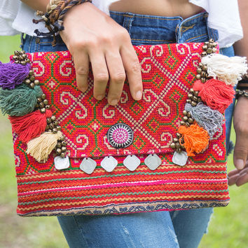 Pom Poms Ipad Cover Bag with Vintage Handmade Hmong Embroidered