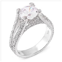Sterling Silver 2 carat Round Cut CZ Split Band Eternity Engagement Ring size 5-9