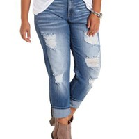 Plus Size Lt Wash Denim Destroyed Boyfriend Jeans by Charlotte Russe