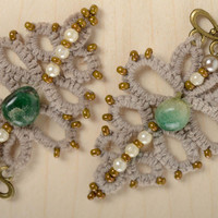 Crochet handmade tatting earrings with natural stone vintage ladies accessories
