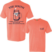 Sweet Tee - Short Sleeve Pocket T-shirt in Bright Salmon