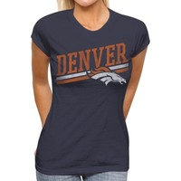 Junk Food Denver Broncos Womens Team Stripe T-Shirt - Navy Blue