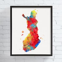 Finland Map, Watercolor Map Print, Finland Poster, Finland Wall Art, Framed Art, Custom Color, Travel Art, Countries, Finland Decor, Modern
