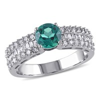 5/8 CT Parallel Baguette and Round Diamonds TW And 4/5 CT TGW Created Emerald Fashion Ring  10k White Gold GH I2;I3