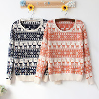 Retro Snow Flake and Reindeer Patterned Knitted Loose Style Sweater