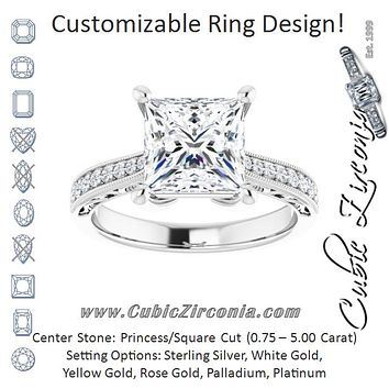 Cubic Zirconia Engagement Ring- The Lina (Customizable Princess/Square Cut Design with Round Band Accents and Three-sided Filigree Engraving)