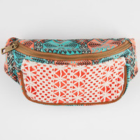 Ethnic Print Crochet Fanny Pack Turquoise Combo One Size For Women 25582525901