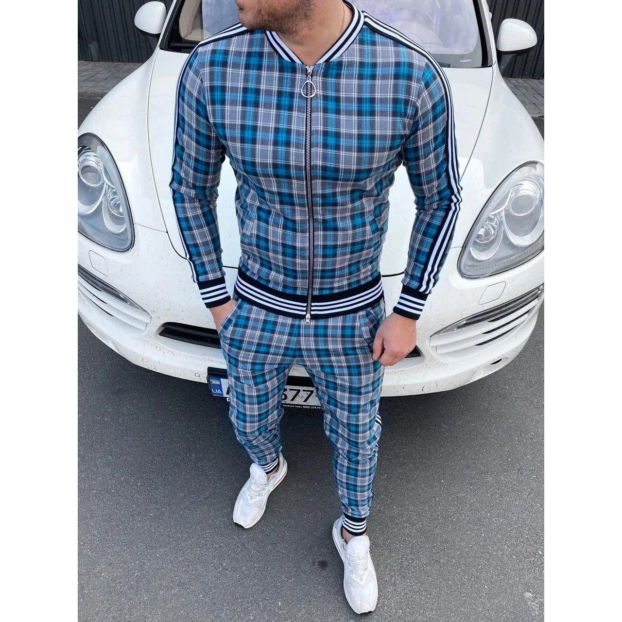 Image of Sport Suits European American Trends 3D Print Fitness Zipper Hoodies Sweatpants Slim Casual Fashion Tracksuits