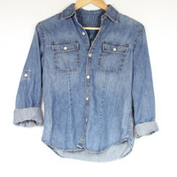 Ralph Lauren washed denim roll-up long sleeves CHAMBRAY button up miliarty shirt minmalist cotton jeans blouse small