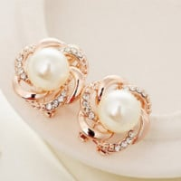 Fashion Stylish Elegant Women Cute Gold Rhinstone Rose Pearl Ear Stud Earrings