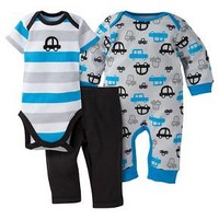 Gerber® Baby Boys' 3-Piece Coverall, Short-Sleeve Onesuit® & Pant - Cars : Target