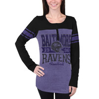 Baltimore Ravens New Era Women's Tri-Blend Henley Long Sleeve T-Shirt - Purple/Black