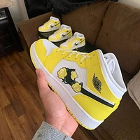 Air Jordan 1 Mid Dynamic Yellow Floral sneakers basketball shoes