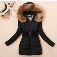2014 Women's padded winter warm fur collar jackets coat jacket  XL XXL XXXL,XXXXL