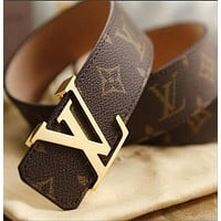 Louis Vuitton LV fashion printed gold and silver buckle belt hot seller for men and womens casual belts Black Belt+Silvery buckle