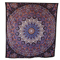 Handicrunch Hippie Mandala Tapestry, Brown Tapestry Wall Hanging, Indian Tapestry, Large Table Runner Bed Cover Indian Art, Cotton Bohemian Tapestry, Hippie Tapestry, Cotton Bed Sheet, Decor Art Wall Hanging