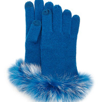 Bergdorf Goodman Cashmere Tech Gloves w/Fox Fur Cuff