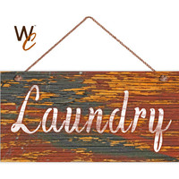 """Laundry Sign, Distressed Wood Style, Orange and Gray, Wall Art, Cleaning Sign, Laundry Room, Weatherproof, 5"""" x 10"""" Sign, Made To Order"""