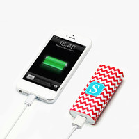 Fire Red Chevron Monogram Portable Power Bank Battery Charger for iPhone and Samsung