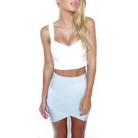 Women Cross Straps Tight Skirts Asymmetrical Hem Clubwear Slim Pencil Mini Skirt  Hot