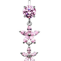 Shimmering Flower Cascade Belly Button Ring