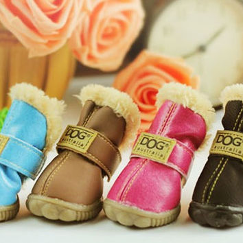 Winter Snow Boots For Dogs Pet Slip- Resistant Waterproof Shoes