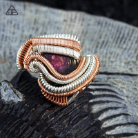 Size 7 Watermelon Tourmaline Sterling Silver Rose Gold Wire Wrapped Ring