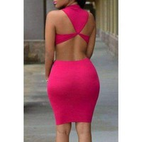 Alluring Scoop Neck Sleeveless Solid Color Cut Out Women's Dress - Rose One Size(fit Size Xs To M)