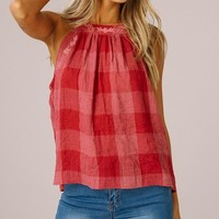 Checkered Halter Top - Rose