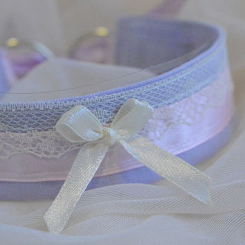 Ivory princess - fairy kei kawaii cute neko lolita kitten pet play collar - lavender lilac pink and ivory yellow lace