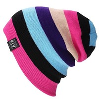 Bonnet Beanies Knitted Winter Caps Hats For Women  Outdoor Ski Sports rainbow Beanie