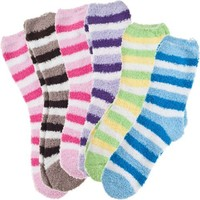 6 Pack of Fluffy Fuzzy Socks Two Color Wide Stripe