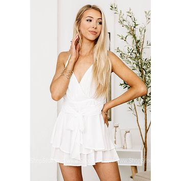 Here For The Party Ruffled Romper | White