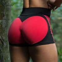 Didiopt 2018 New Woman Sport Tight Shorts Love Pattern Lady Tight Waist Pants Woman Sexy Sport Pants Red And Yellow Color P9754E