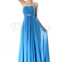 Gorgeous Draped A-Line Strapless Beading Long Prom Dress