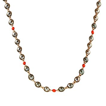 """12mm Black Tahitian Pearl with 12.24ct Diamonds in 18K Rose Gold Opera Necklace 36"""""""