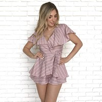 Take Me To Brunch Pink Stripe Romper
