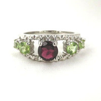 Garnet & Topaz Sterling Silver Ring, Vintage Red, Green Multi Stone Ring, Anniversary Band, Size 8