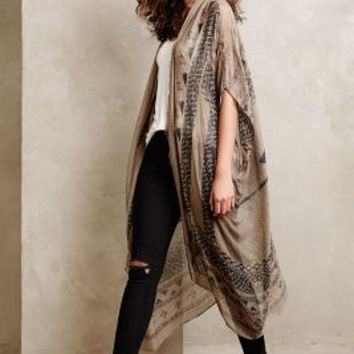 Desert Etched Kimono by Subtle Luxury Brown One Size Jackets