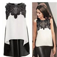 Chiffon Lace Leather Floral Printed Sleeveless _ 12548