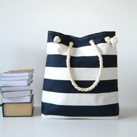 Sailor Tote Bag for market or beach or gym dark by bayanhippo