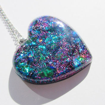 Colorful Holographic Heart Necklace - Huge Puffy Resin Heart Galaxy Holographic Pendant Unique Jewelry