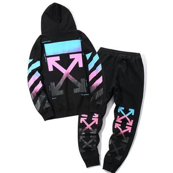 Off White Women or Men Fashion Casual Loose  Top Sweater Hoodie Pants Trousers Set Two-Piece