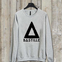bastille logo Music tee Ash Grey  Long Sleeve Crew Neck Pullover Sweatshirt