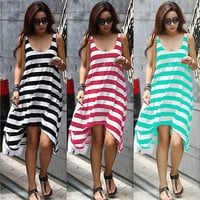 Sexy Women Summer Beach Long Sundress Boho Casual Sleeveless Stripe Mini Dress