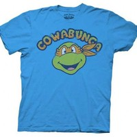 TMNT Teenage Mutant Ninja Turtles Cowabunga Michaelangelo Blue Adult T-shirt  - Teenage Mutant Ninja Turtles - | TV Store Online